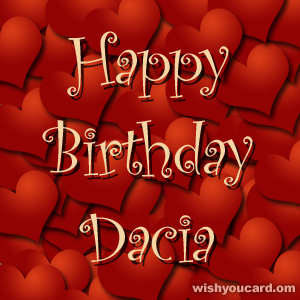 happy birthday Dacia hearts card