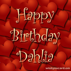happy birthday Dahlia hearts card