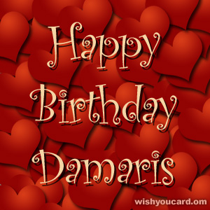 happy birthday Damaris hearts card