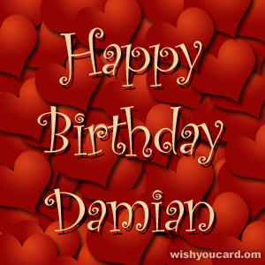 happy birthday Damian hearts card
