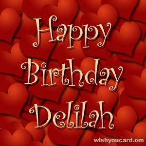 happy birthday Delilah hearts card