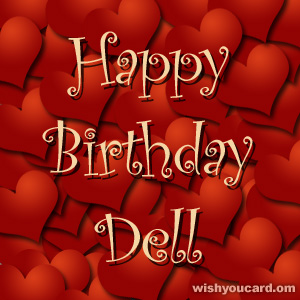 happy birthday Dell hearts card