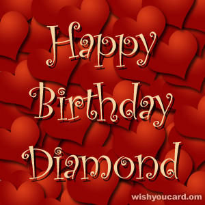 happy birthday Diamond hearts card