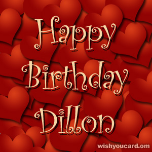 happy birthday Dillon hearts card