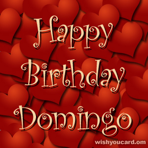 happy birthday Domingo hearts card