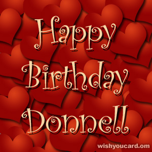 happy birthday Donnell hearts card
