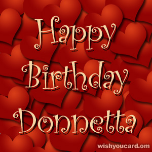 happy birthday Donnetta hearts card