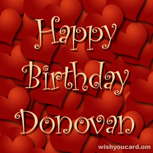 happy birthday Donovan hearts card
