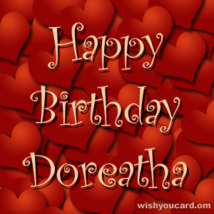 happy birthday Doreatha hearts card