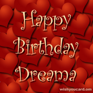 happy birthday Dreama hearts card