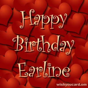 happy birthday Earline hearts card