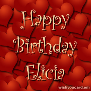 happy birthday Elicia hearts card