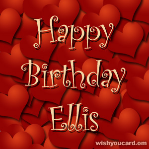 happy birthday Ellis hearts card