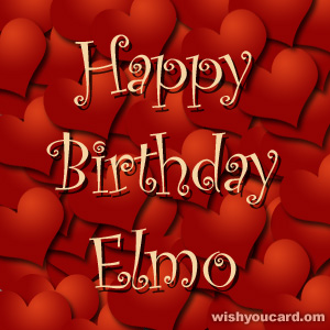 happy birthday Elmo hearts card