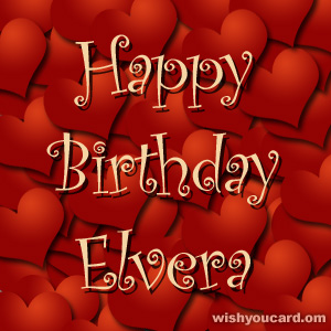 happy birthday Elvera hearts card