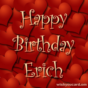 happy birthday Erich hearts card