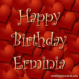 happy birthday Erminia hearts card