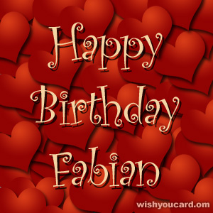 happy birthday Fabian hearts card