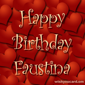 happy birthday Faustina hearts card