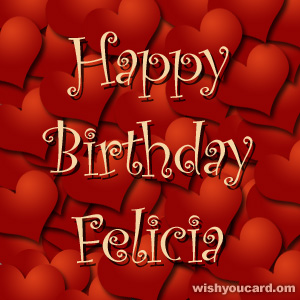 happy birthday Felicia hearts card