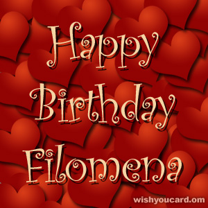 happy birthday Filomena hearts card