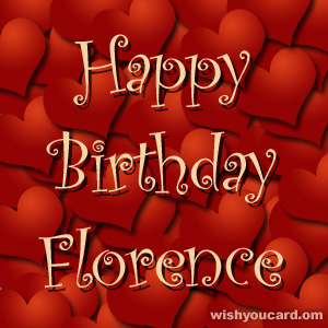 happy birthday Florence hearts card