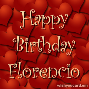 happy birthday Florencio hearts card