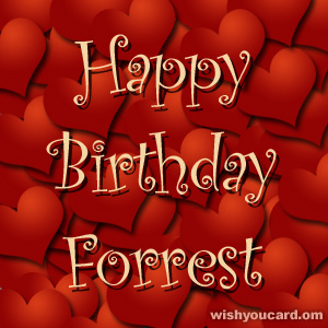 happy birthday Forrest hearts card