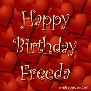 happy birthday Freeda hearts card