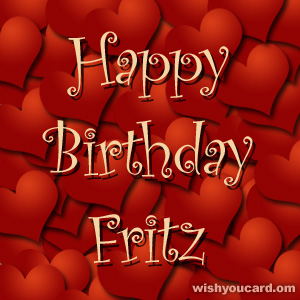 happy birthday Fritz hearts card