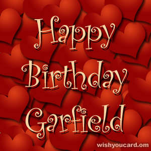 happy birthday Garfield hearts card