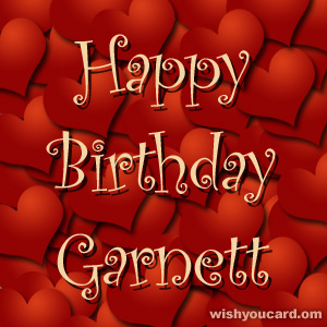 happy birthday Garnett hearts card