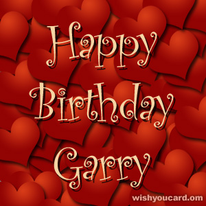 happy birthday Garry hearts card