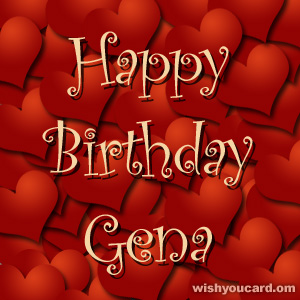 happy birthday Gena hearts card