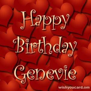 happy birthday Genevie hearts card