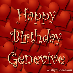 happy birthday Genevive hearts card