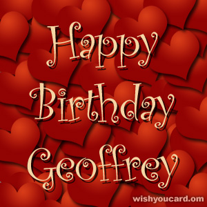 happy birthday Geoffrey hearts card