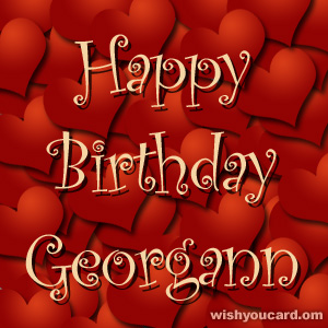 happy birthday Georgann hearts card