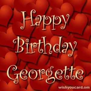 happy birthday Georgette hearts card