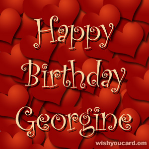happy birthday Georgine hearts card