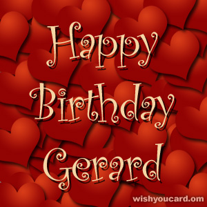 happy birthday Gerard hearts card