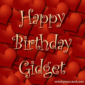happy birthday Gidget hearts card