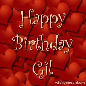 happy birthday Gil hearts card