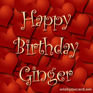 happy birthday Ginger hearts card
