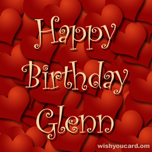happy birthday Glenn hearts card