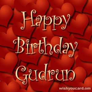 happy birthday Gudrun hearts card
