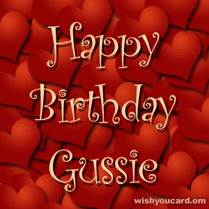 happy birthday Gussie hearts card