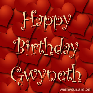 happy birthday Gwyneth hearts card
