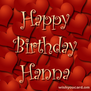 happy birthday Hanna hearts card