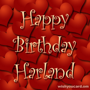 happy birthday Harland hearts card